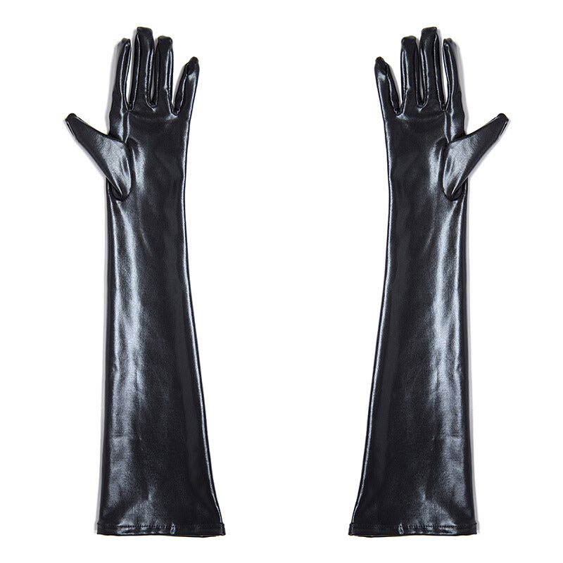 Wet Look Long Gloves  - Cradle Of Goth