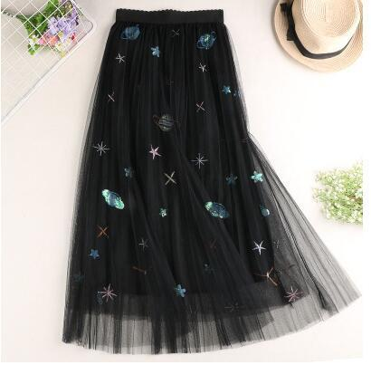 Constellations Skirt Planet Black / S - Cradle Of Goth