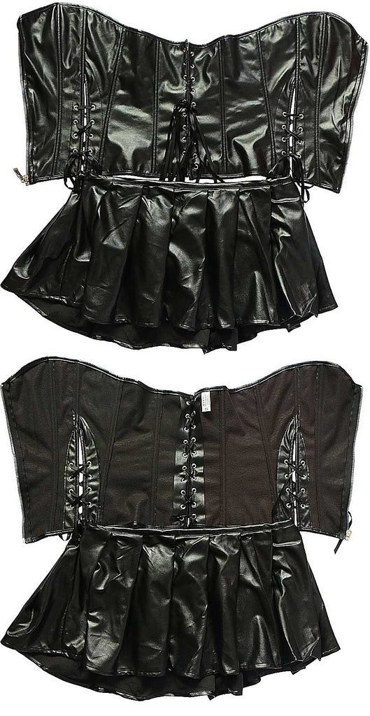 Corset and Mini Skirt Combo (Plus sizes available)  - Cradle Of Goth