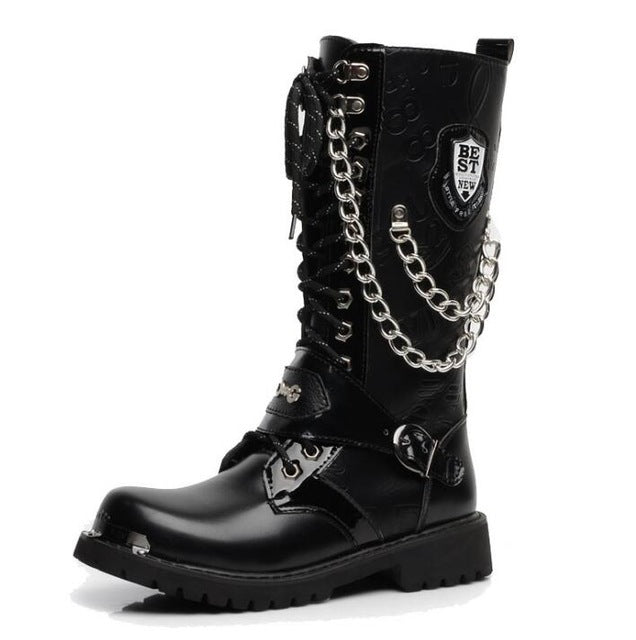 Men's Chained Motorcycle Boots (Vegan) letter / 5 - Cradle Of Goth
