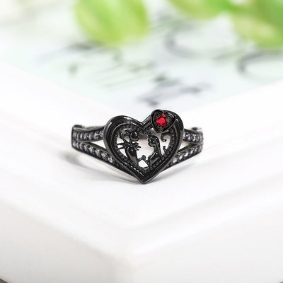 Black Heart Ring  - Cradle Of Goth