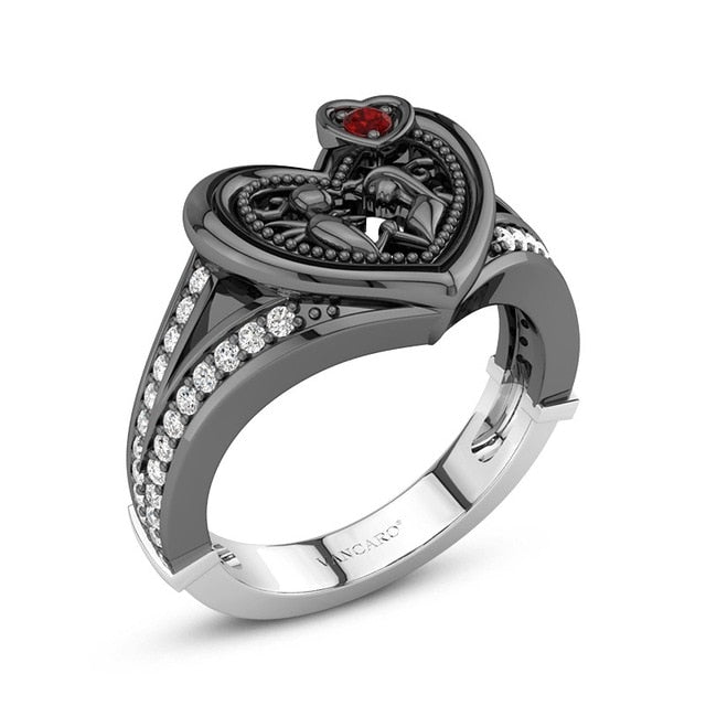 Black Heart Ring 8 / BLACK - Cradle Of Goth
