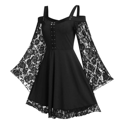 Flared Lace Dress  - Cradle Of Goth