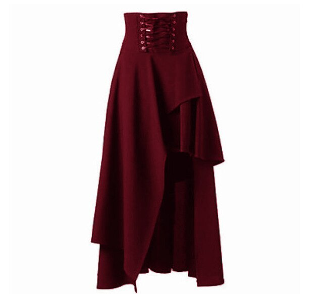 Long Goth Skirt wine red / M - Cradle Of Goth