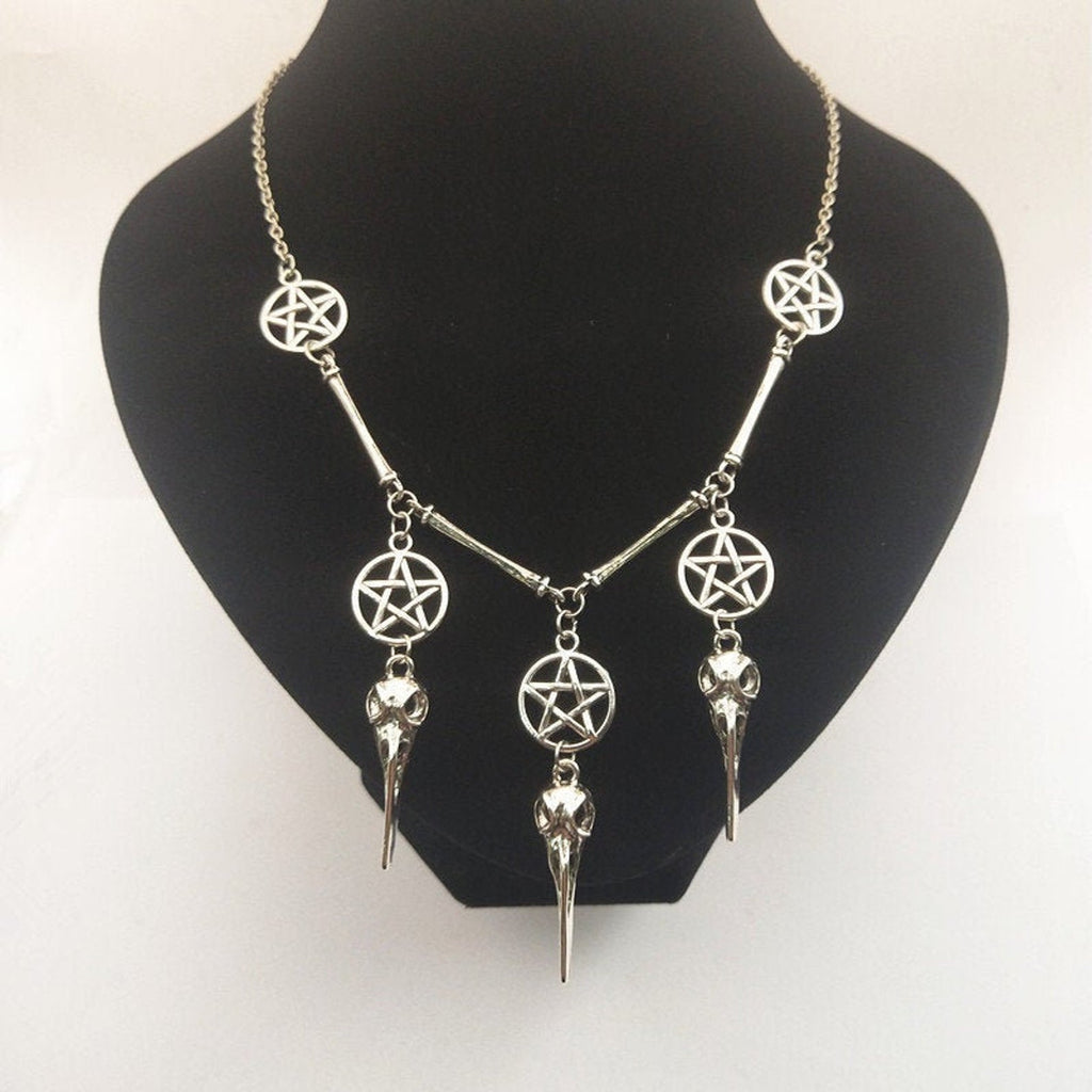 Skull & Pentagram Necklace  - Cradle Of Goth