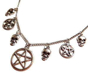 Skull & Pentagram Necklace A2 - Cradle Of Goth