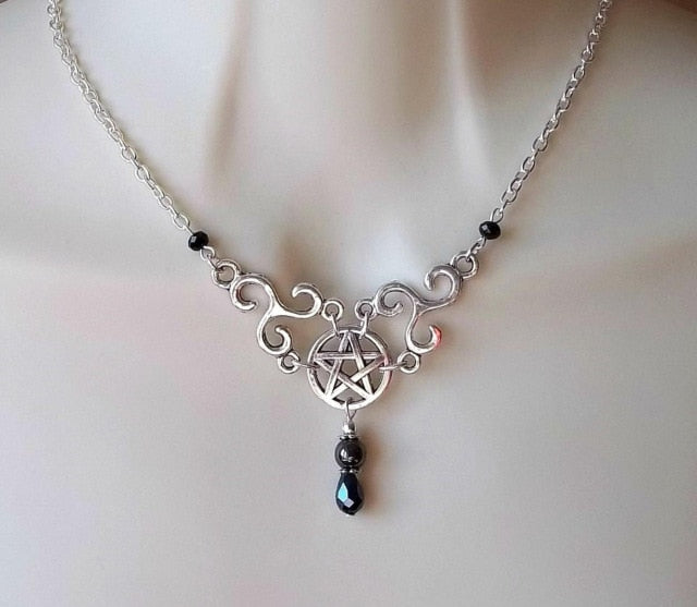 Skull & Pentagram Necklace A3 - Cradle Of Goth