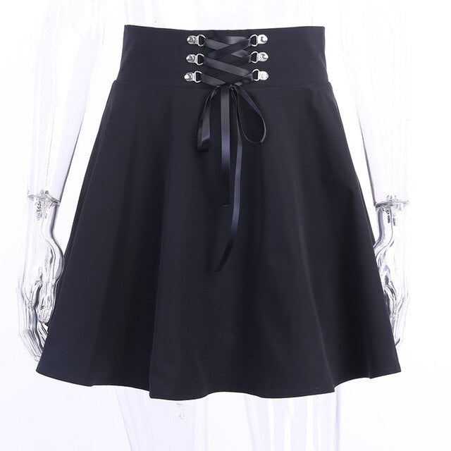High Waist Mini Skirt Black Solid Skirts / L - Cradle Of Goth