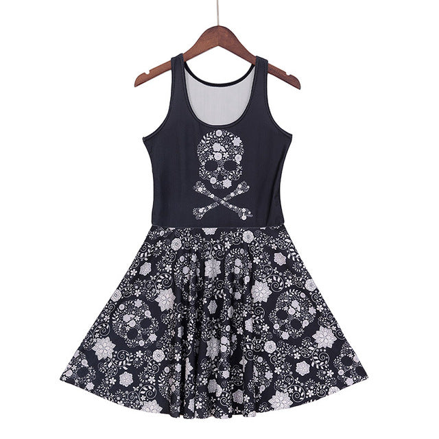 Skull and bones Dress (Plus sizes available) 1210 / S - Cradle Of Goth
