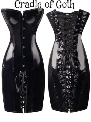 Miss Dominatrix Leather Dress (Vegan)  - Cradle Of Goth