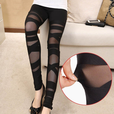 Elastic Black Leggings  - Cradle Of Goth
