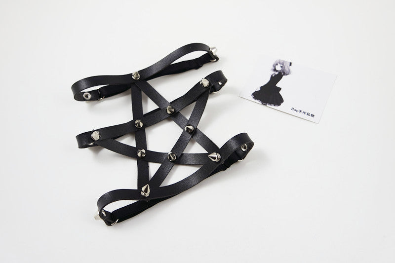 Spiked Pentagram Garter  - Cradle Of Goth