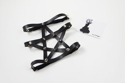 Spiked Pentagram Garter Default Title - Cradle Of Goth