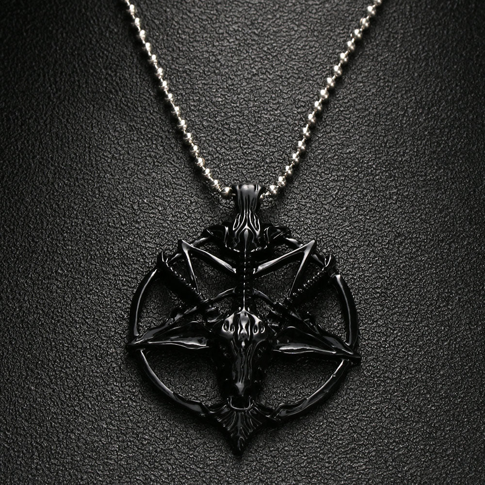 Pentagram Necklace FS black - Cradle Of Goth