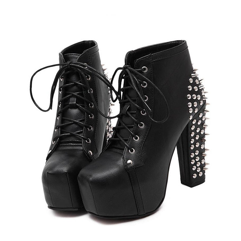 Queen of Spikes (Vegan Leather Boots)  - Cradle Of Goth
