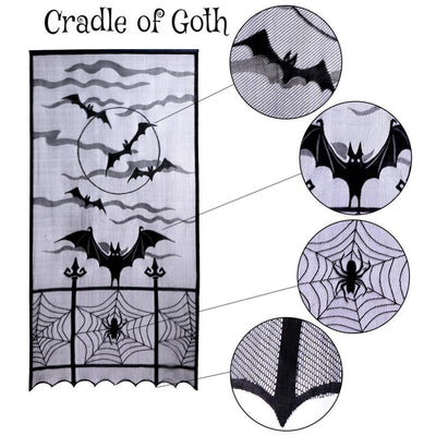 Bats in the Night Tablecloth  - Cradle Of Goth