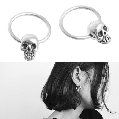 Skull Hoop Earrings  - Cradle Of Goth