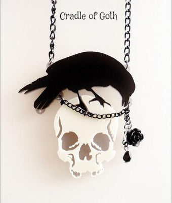Raven Skull Necklace  - Cradle Of Goth