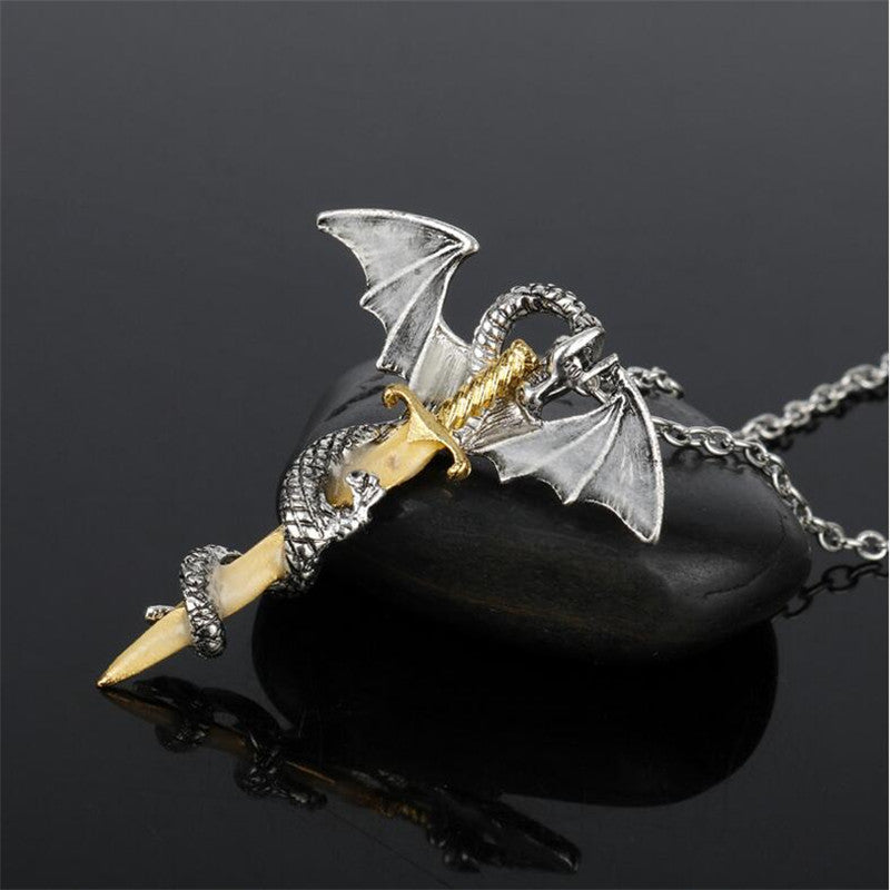 The Dragon's Sword Pendant Necklace  - Cradle Of Goth