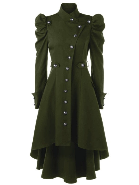 Winter Enchantress Trench Coat Green / L - Cradle Of Goth