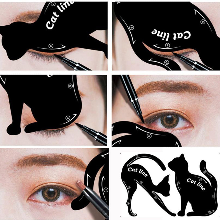 Cat Gothic Eyeliner Stencils (two pieces)  - Cradle Of Goth