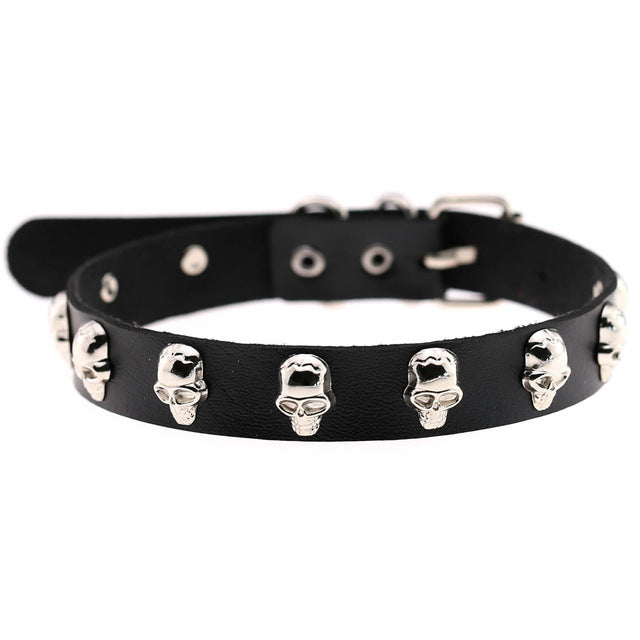 Vegan Leather Choker with Skulls  - Cradle Of Goth
