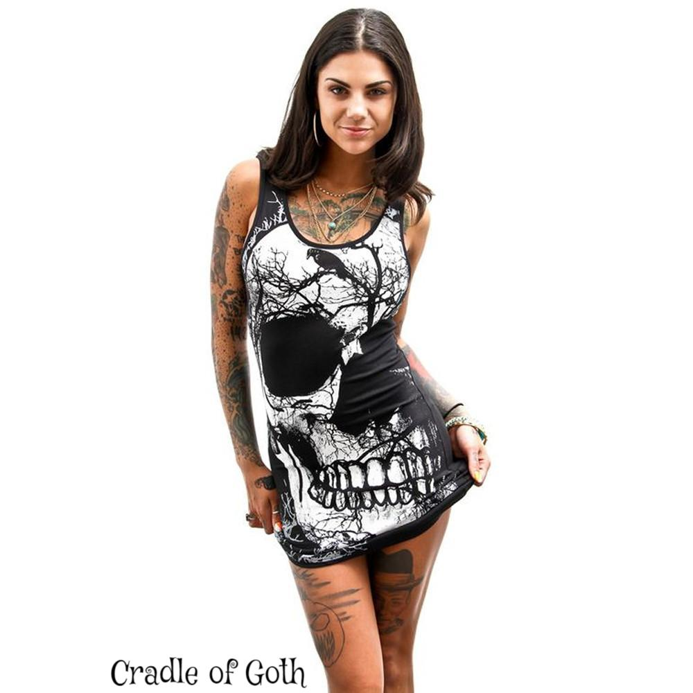 Raven & Skull Dress  - Cradle Of Goth