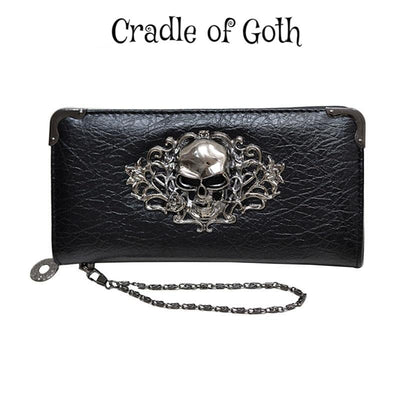 Grinning Skull Long Wallet (Vegan Leather)  - Cradle Of Goth
