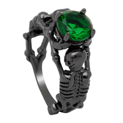 Evil Skeletons Ring 10 / blue - Cradle Of Goth