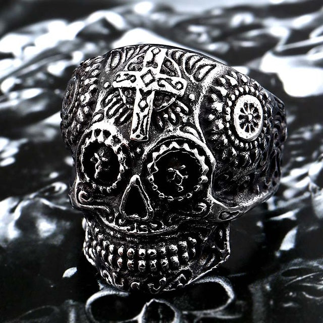 Kapala Skull Ring 8 / silver colour - Cradle Of Goth