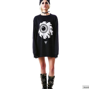 Staring Death Eye Oversized Sweater  - Cradle Of Goth