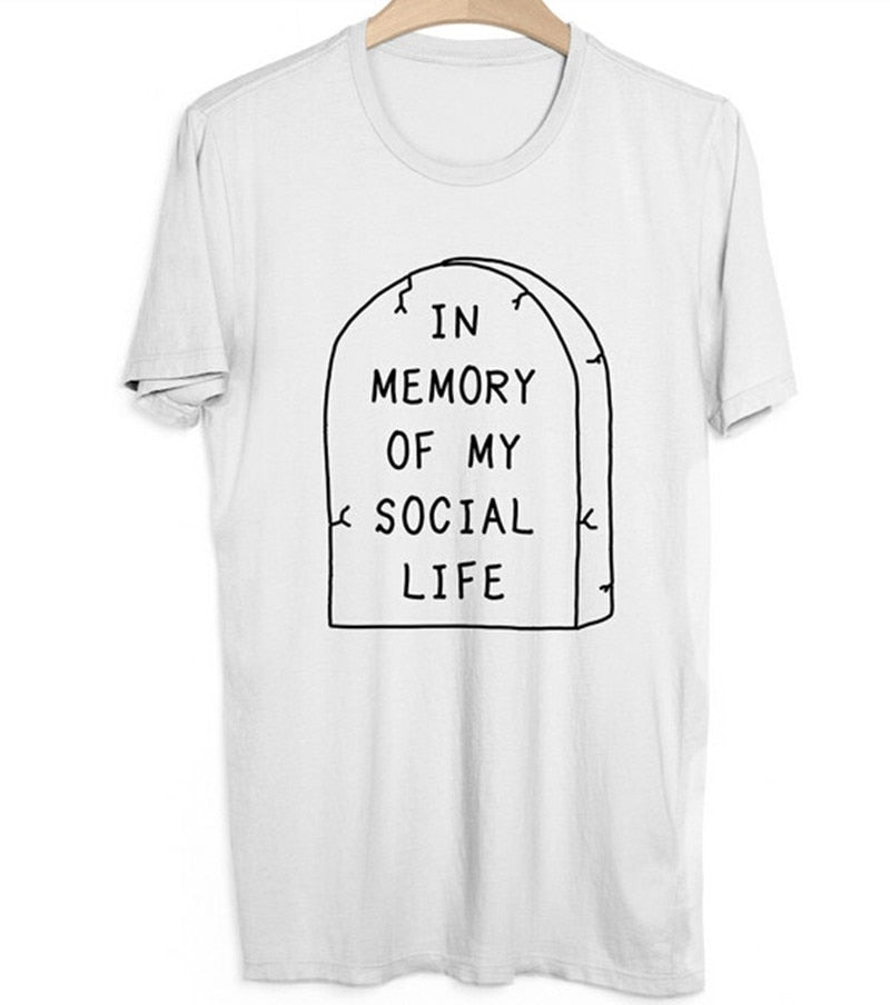 In Memory of My Social Life T-Shirt  - Cradle Of Goth