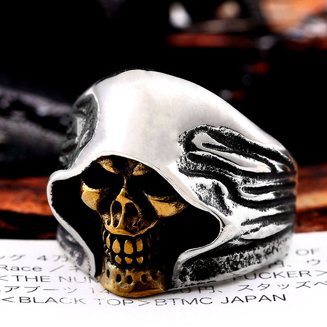 Mysterious Death Smile Ring 7 / part plated gold - Cradle Of Goth