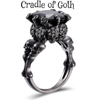 Zircon Stone Skull Ring  - Cradle Of Goth
