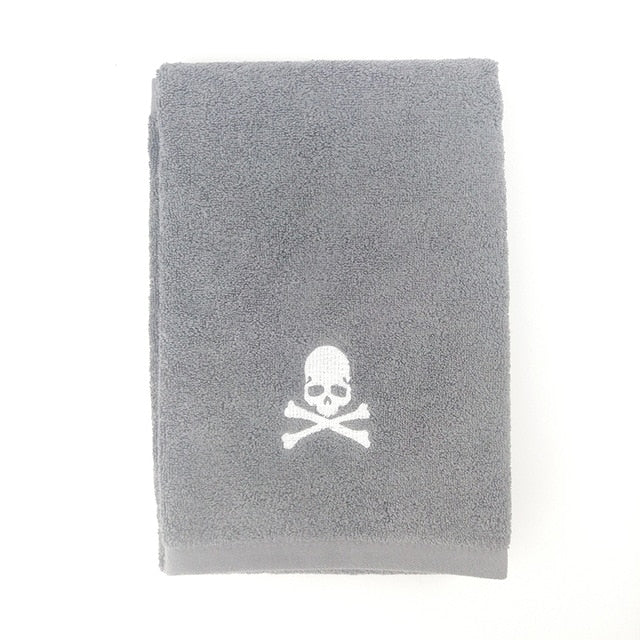 Skull Towel dark gray towel / 84x34cm 150grams - Cradle Of Goth