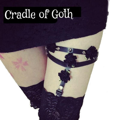 Spiked Flower Garter  - Cradle Of Goth