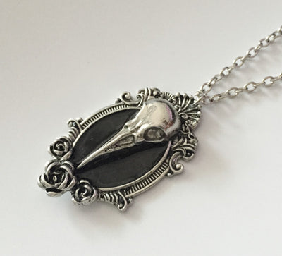 Black Mirror Raven Necklace  - Cradle Of Goth