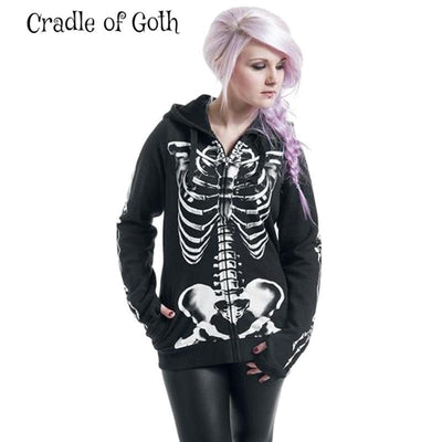 Skeleton Hoodie (plus size available)  - Cradle Of Goth