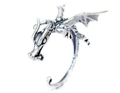 Clingy Dragon Silver Earrings  - Cradle Of Goth