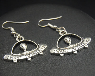 UFO Earrings (Handmade)  - Cradle Of Goth