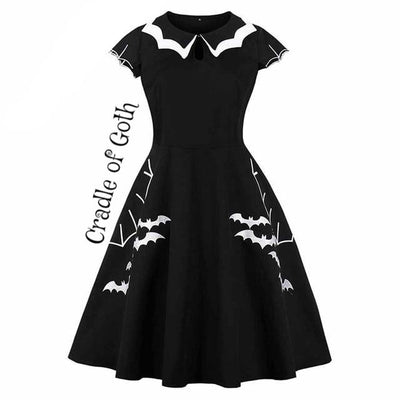 Bats Dress (plus size) Black / XL - Cradle Of Goth