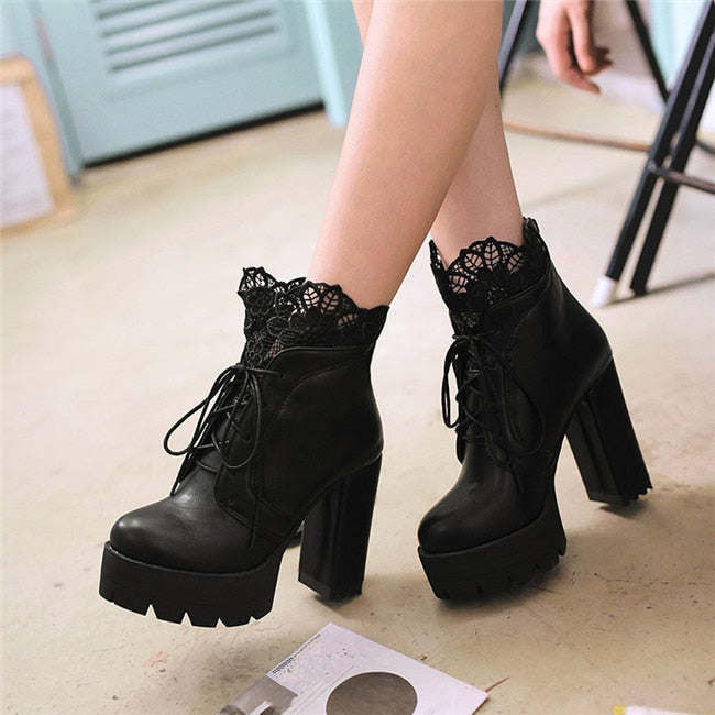 Lady Lace Boots (Handmade, Vegan)  - Cradle Of Goth