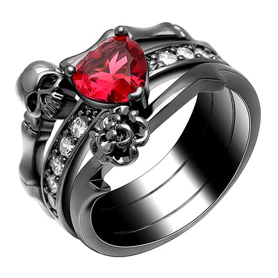 Skull Love Ring  - Cradle Of Goth
