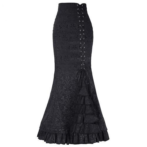 Victorian Mermaid Skirt Black / M - Cradle Of Goth