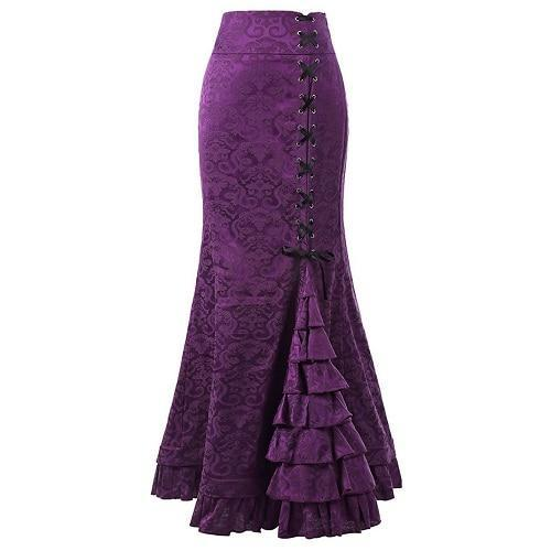 Victorian Mermaid Skirt Purple / M - Cradle Of Goth