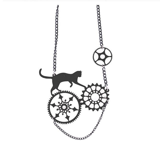 Cat Gears Necklace Default Title - Cradle Of Goth