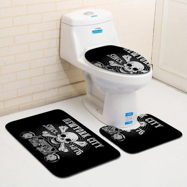 Skull Bathroom Carpet (3 pieces)  - Cradle Of Goth