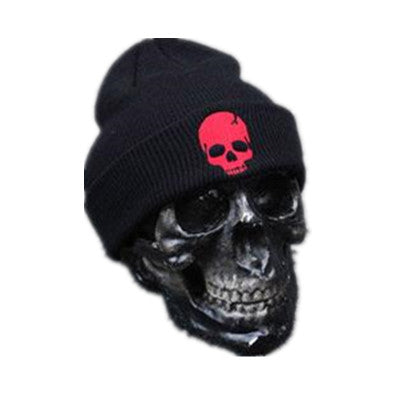 Skull Beanie Red - Cradle Of Goth