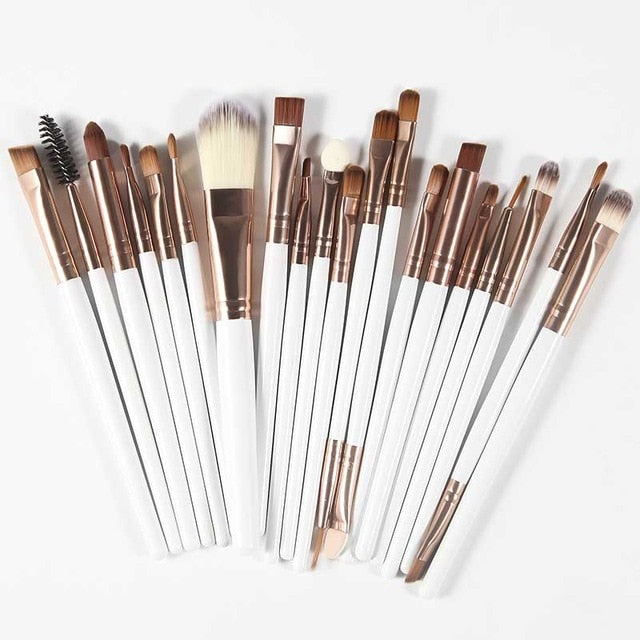 The Living Doll Brushes (20 pieces) Coffee and White - Cradle Of Goth
