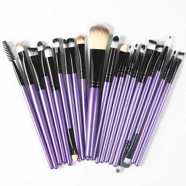 The Living Doll Brushes (20 pieces) Black and Purple - Cradle Of Goth